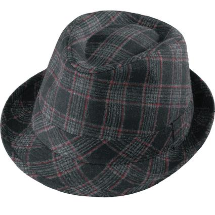 Gentleman Wool Hat- Black Plaid Medium