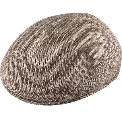 Herringbone Ivy League Cap- Brown Herringbone, X Large