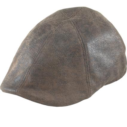 Distressed Duckbill Cap- Dark Brown, X Large