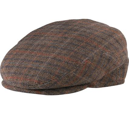 Italian Cashmere Ivy League Cap- Olive Plaid, X Large