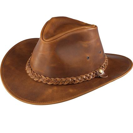 Outback Crushable Leather Hat- Crazy Horse, Large