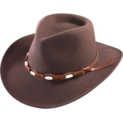 Felt Outback Hat with Beaded Band- Brown, Large