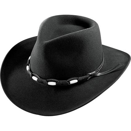 Felt Outback Hat with Beaded Band- Black, X Large