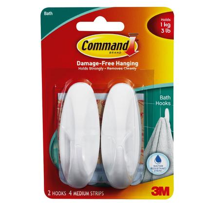 Command Medium Designer Bathroom Hooks - 2 Pack