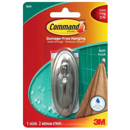 Command Traditional Medium Bathroom Hook - Brushed Nickel