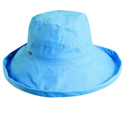 Wide Brim Cotton Hat- Blue