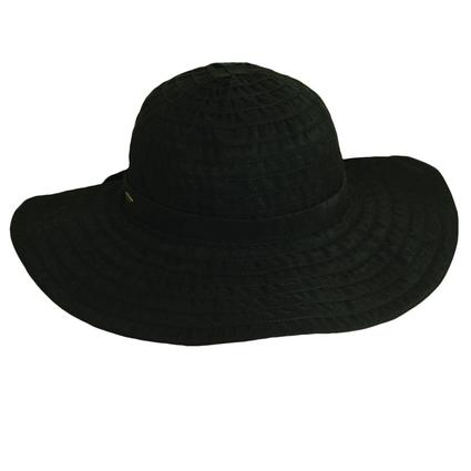 Cotton Ribbon Crusher Hat- Black