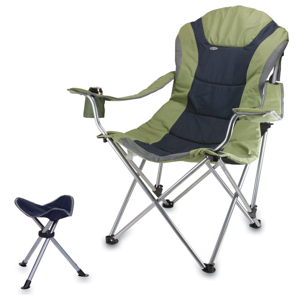 Reclining Camp Chair w Footrest Sage Green Picnic Time 803 86 130 Foldin