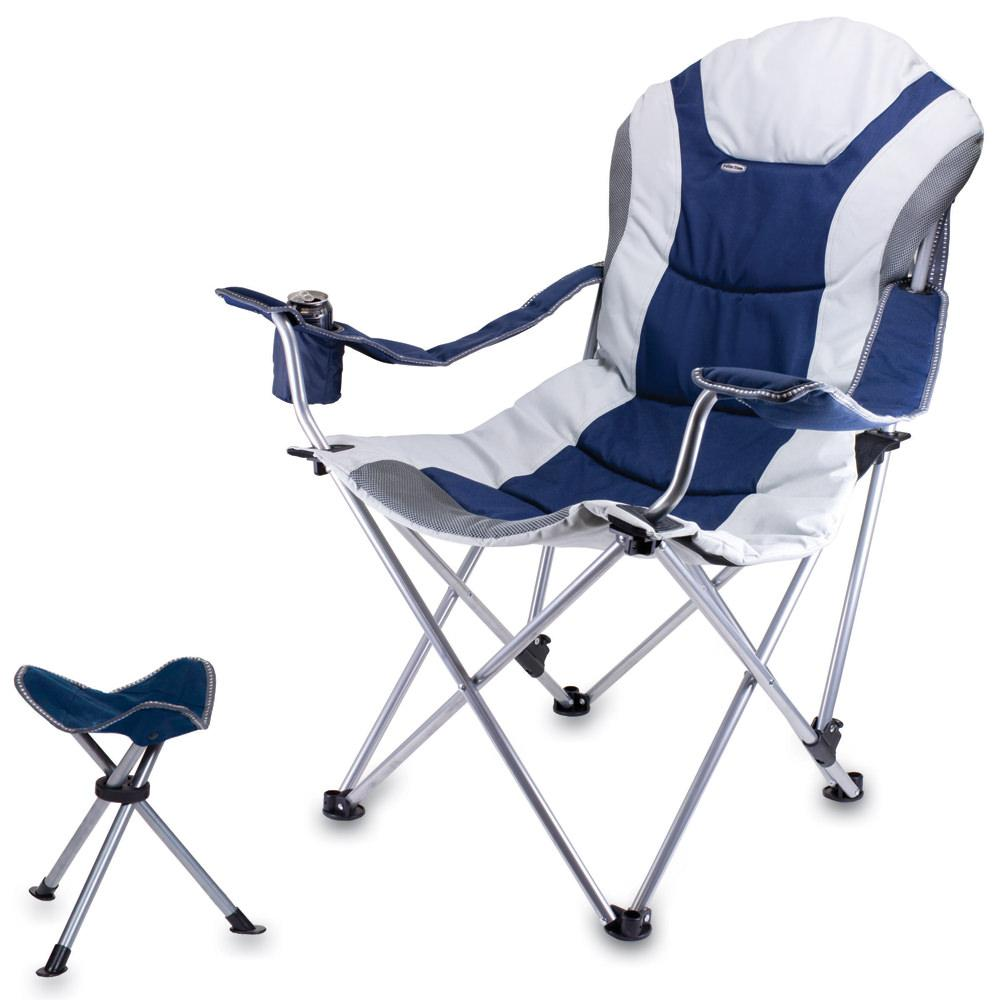 Reclining Camp Chair w Footrest Navy Picnic Time 803 86 138 Folding Chai