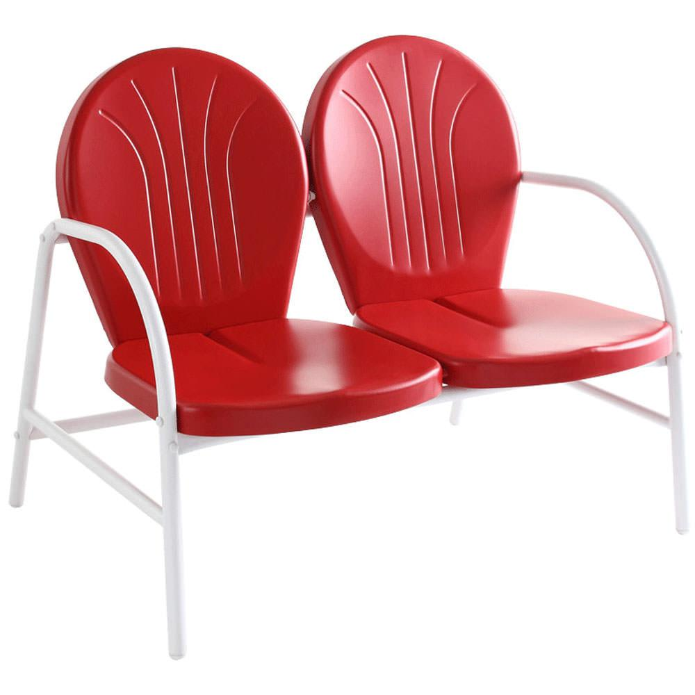Griffith Metal Loveseat In Red Finish Modern Marketing Concepts Co1002a Re Folding Chairs
