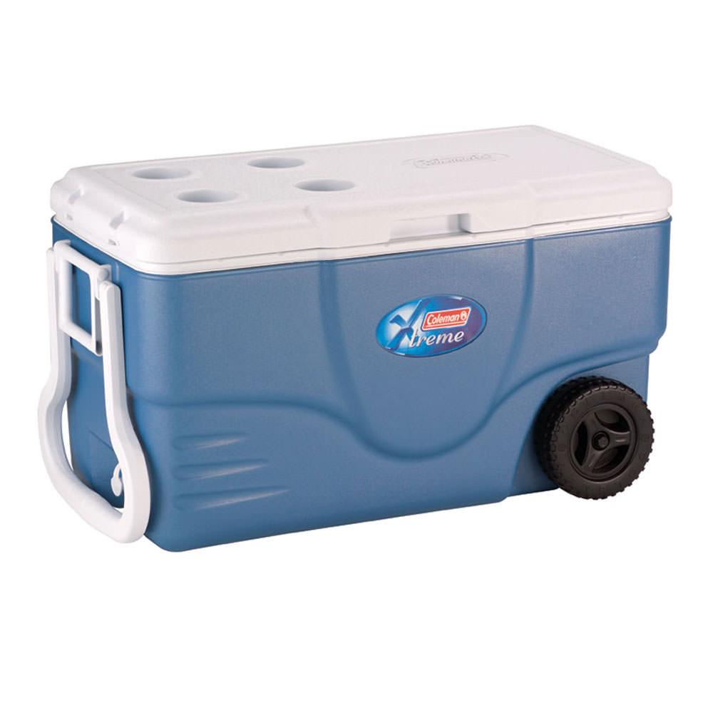62 quart xtreme 5 wheeled cooler coleman 6262a748 for Motor cooler on wheels