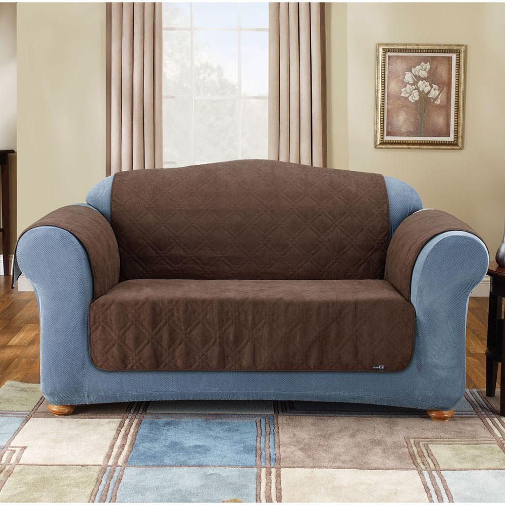 Soft suede pet loveseat throw 48 brown sure fit for Suede loveseat