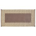 Reversible Greek Design Motif Patio Mat 6' x 9' - Coffee Brown
