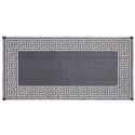 Greek Key 8' x 16' Reversible Patio Mat - Black