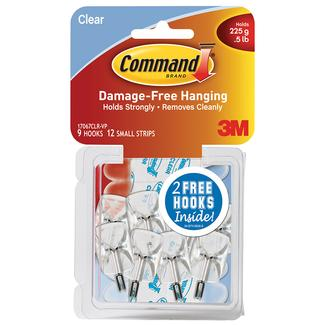Command Small Wire Hooks, 9 Hooks & 12 Small Strips, Clear