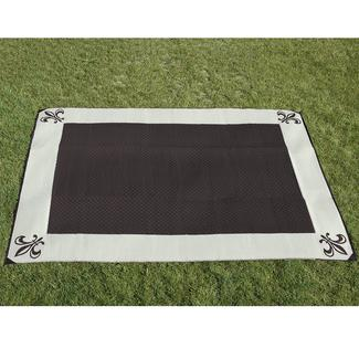 9' x 12' Fleur de Lis Reversible Patio Mat - Black