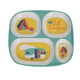Tent n' Trailer Plate, Teal/Yellow