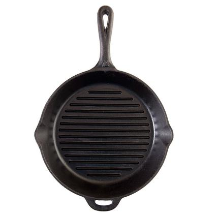 Seasoned Cast Iron Grill Skillet with Ribs, 12