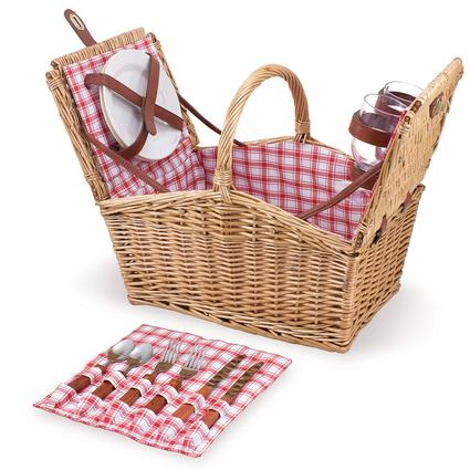 Piccadilly Picnic Basket- Red & White Plaid