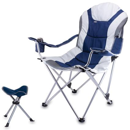 Reclining Camp Chair w/Footrest- Navy