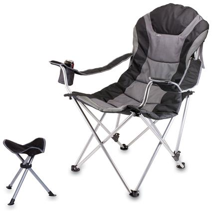 Reclining Camp Chair w/Footrest- Black