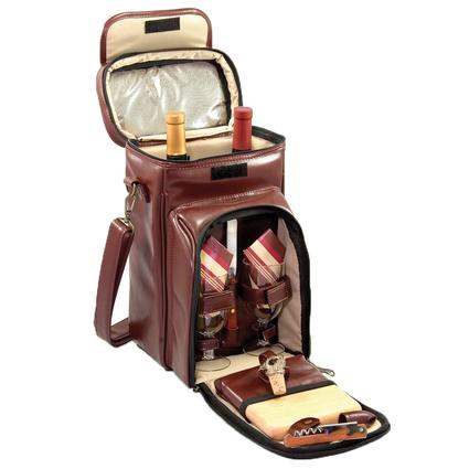 Serenata Picnic Basket- Burgundy w/Tan stripes
