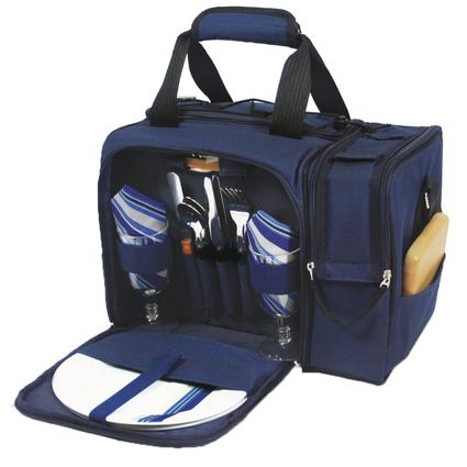 Malibu Picnic Basket - Navy w/Blue and Gray Stripe