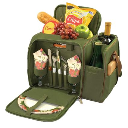 Malibu Picnic Basket - Pine Green w/Nouveau Grape