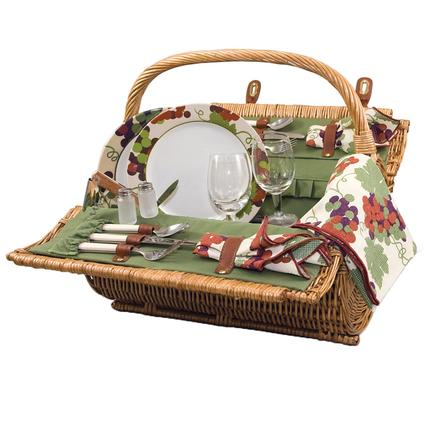 Barrel Picnic Basket- Pine Green w/Nouveau Grape