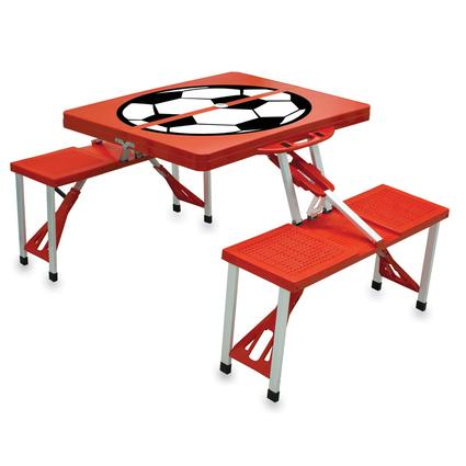 Picnic Table SPORT- Red w/Soccer