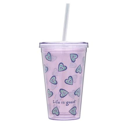 18 oz. Heart Cup & Straw