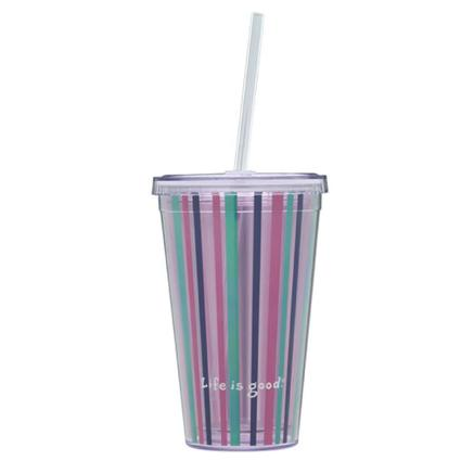 18 oz. Striped Cup & Straw
