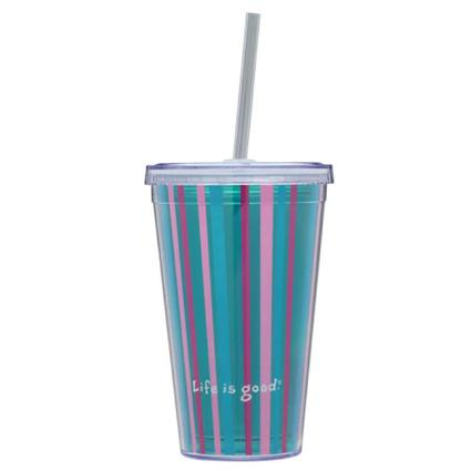 18 oz. Stripped Teal Cup & Straw