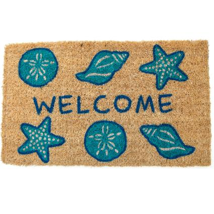 Shells Welcome Hand Woven Coir Doormat
