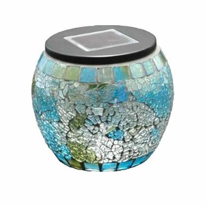Solar Mosaic Globe Jar - Blue