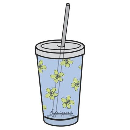 Flower Cup with Straw