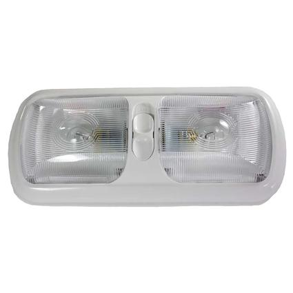 12-volt Double Euro-Style Light – White Base with Optic Lens
