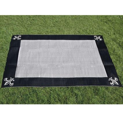 9' x 12' Fleur de Lis Reversible Patio Mat - Black