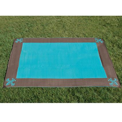 9' x 12' Fleur de Lis Reversible Patio Mat - Brown/Blue