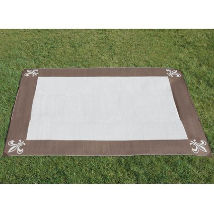 9' x 12' Fleur de Lis Reversible Patio Mat - Brown/Stone