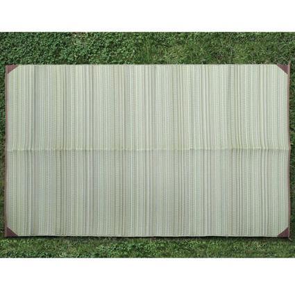 Green Stripe Patio Mat, 9' x 12'