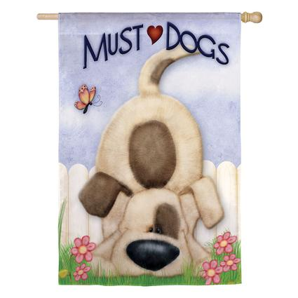 Silkscreen Double-Sided Must Love Dogs Garden Flag