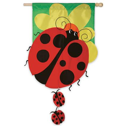 Appliqué Ladybug Family Garden Flag