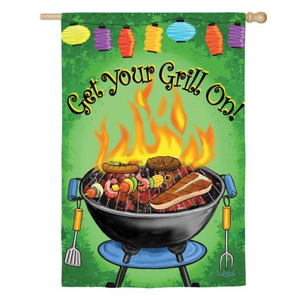 Silkscreen Double-Sided Get your Grill On Garden Flag