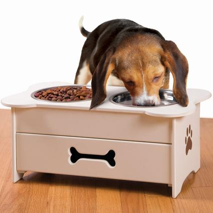 Wooden Pet Feeder with Drawer