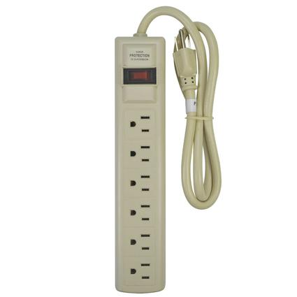 Indoor Grounded 6-Outlet Power Strip with Surge Suppressor