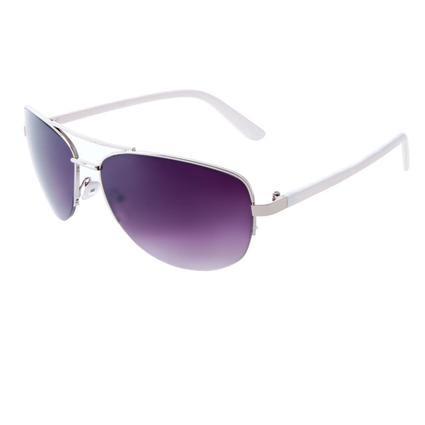 Ladies' Aviator Sunglasses - Silver Finish Frame with Black Temples