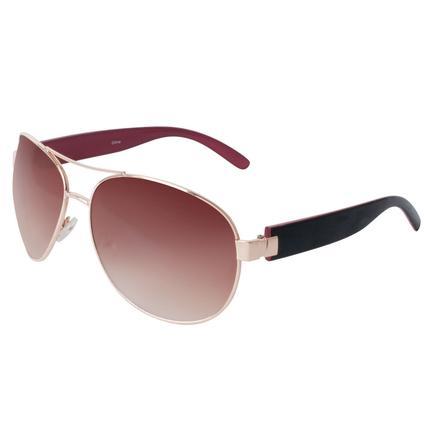 Ladies' Avaitor Sunglasses - Gold Finish Frame, Amber Lenses