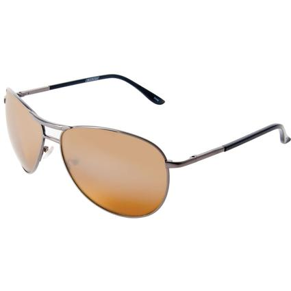 Unisex Aviator Driving Sunglasses - Bronze Color Finish, Amber Lenses