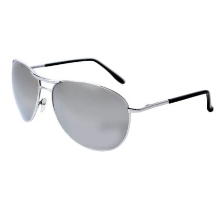 Men's Mirrored Aviator Sunglasses - Silver Colored Finish, Mirrored Lenses